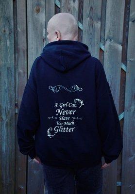 Hoodie met Glitter Tekst Maat  XL